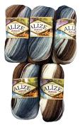 5 x 5742, 100 grammes, Alize Burcum Batik Cotton Brown Beige Grey White with Colours, 500 g Knitting Wool