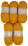 5 x 100g Knitting Wool Alize Bebe Saffron no. 488/500 GSM Wool Knit and Crochet