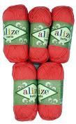 5 x 50 g Cotton Salmon No. 619, 250 g Knitting Wool Yarn 100% Cotton