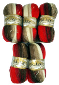 5 x 4574 Alize Knitting Yarn 100 g Colour Gradient Red Brown Beige Cream Mohair Knit and Crochet 500 Gramme Cotton