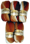 5 x 2626 Alize Knitting Yarn 100 g Colour Gradient Terracotta Brown Beige Cream Mohair Knit and Crochet 500 Gramme Cotton