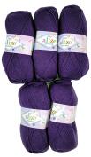 5 x 100g Knitting Wool Alize Bebe Purple Berry No. 44 . 500 GSM Wool Knit and Crochet