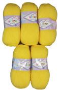 5 x 100g Knitting Wool Alize Bebe Yellow No. 187 500 g Wool Knit and Crochet