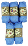 5 x 40, 50 Gramme Cotton Blue 250 g Knitting Wool Yarn 100% Cotton