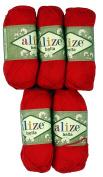 5 x 50 g Cotton No. 56 250 g Red Knitting Wool Yarn 100% Cotton