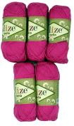 5 x 50 g Cotton Pink No. 489 250 g Knitting Wool Yarn 100% Cotton