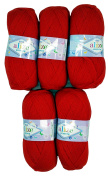 5 x 100g Knitting Wool Alize Bebe No. 56 500 g Red Wool Knit and Crochet