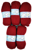 5 x 106 500 Gramme 100g Knitting Wool Alize Bebe Dark Red Wool Knit and Crochet