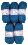 5 x 387 . 500 GSM Wool 100g Alize Bebe Petrol Blue Knit and Crochet