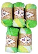 5 x 50 g Cotton Graduated Colour Mint yellow white No. 2131, 250 g Knitting Wool Yarn 100% Cotton