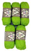 5 x 50 g Cotton Green No. 612 250 g Knitting Wool Yarn 100% Cotton