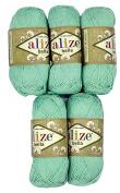 5 x 50 g Cotton Mint Green No. 266 250 g Knitting Wool Yarn 100% Cotton