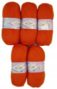 5 x 100g Knitting Yarn Alize Bebe No. 225 500 g Orange Wool Knit and Crochet