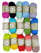 10 x 50g balls Knitting Wool Alize Bella 100% Cotton Assorted Colours, 10 Farben Yarn Total 1800 Metres