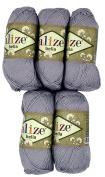 5 x 50 g Cotton Grey No. 21 250 g Knitting Wool Yarn 100% Cotton