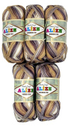 5 x 100 g Bamboo Wool Brown Beige Taupe White with Colours, # 4152, 500 Grammes 100% Bamboo Knitting Yarn
