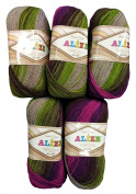 5 x 100 Grammes Alize Superlana Wool Purple Lilac Green Taupe Grey Gradient 3940 500 Gramme Acrylic Knitted 75% Wool 25% Wool