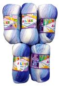 5 x 2165 500 Gramme Wool 100 g Alize Yarn Bebe Batik Light Blue/White