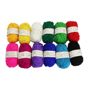 Kbnian 12*15g Yarn Skeins of Assorted Colours 100% Acrylic Knitting Yarn Perfect for Any Crochet and Knitting Project Baby Clothing Socks Gloves Headwear Toys and Various Other Arts Crafts.