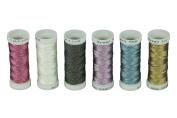 Simthreads 6 Colours Metallic Thread for Tatting / Knitting, 3 Strands, 50 Metres/Bobbin