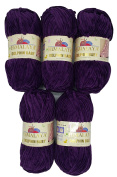 5 x 100g Knitting Wool Super Bulky Dolphin Baby 80328 Berry Purple, 500 Grammes Himalayan Wool Knit and Crochet