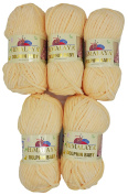 5 x 100g Knitting Wool Super Bulky Dolphin Baby 80333 Apricot, 500 Grammes Himalayan Wool Knit and Crochet