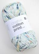Rico Creative Cotton Print Aran Colour 24 – Lagune Speckled Cotton Yarn for Knitting & Crochet