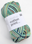 Rico Creative Cotton Print Aran Colour 23 – Lagoon Cotton Yarn for Knitting & Crochet