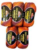 5 x 100 g Wool Berry Gradient Colour Terracotta # 50208 Knitting Wool, 70% acrylic + 30% wool 500 g.