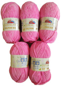 5 x 100 g super soft and super bulky Himalaya Dolphin 80309 Baby Pink Colour and Crochet Wool for Knitting