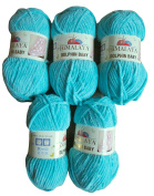 5 x Super Soft and Super Bulky Himalaya Dolphin Baby 80315 Turquoise Colour (Yarn 100 g Knit and Crochet