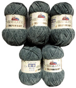 5 x 100g Super Soft and Super Bulky Himalaya Dolphin Baby 80320 Grey Colour Wool Knit and Crochet