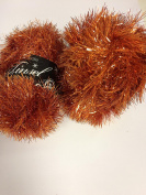 TWO BALLS King Cole Glittery Rusty Orange Tinsel Chunky Knitting Yarn Festive Wool