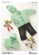 UKHKA Baby Jackets & Hat Knitting Pattern No 81 DK - each