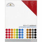 Doodlebug Textured Cardstock Assortment Pack 22cm x 28cm 48/Pkg-Primary