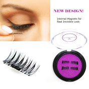 [New Improved Design] Magnetic Eyelashes, Invisible Internal Magnet False Lashes Extension. Reusable Magnet Fake Lashes. Magnetic Case Provided.