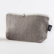 Makeup Bag Grey with Full Flax Linen Makeup Pouch – 100% Flax Linen Cosmetic bag – Double Layered Proofing Canvas Handmade Flawlessly – For All Beauty Accessories
