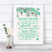 Green Rustic Wood Please Don't Post Photos Facebook Personalised Wedding Sign Print
