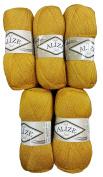 5 x 100 g Alize Glitter 02 To Knit & Crochet Wool Golden Yellow 500 grammes metallic yarn