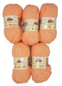 5 x 100 g Himalayan Dolphin Knitting Wool/Yarn Baby Wool 80323 Apricot 500 Gramme Super Bulky