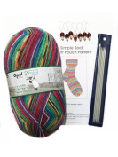 Opal 4ply Yarn Sock Knitting Kit - Wool, DPN's, Stitch Markers & Pattern Schafpate 7956 Charlie