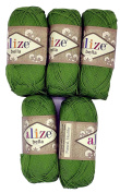 5 x 50 g Cotton Green No. 492 250 g Knitting Wool Yarn 100% Cotton