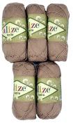5 x 50 g Cotton Taupe/Sand No. 629, 250 g Knitting Wool Yarn 100% Cotton