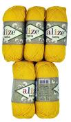 5 x 50 g Cotton Yellow No. 488/250 g Knitting Wool Yarn 100% Cotton