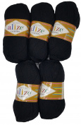 5 x 60 100g Alize Knitting Wool 100% Wool, Black, 500 g Knit and Crochet
