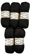 5 x 100 g Alize Glitter 60 03 To Knit & Crochet Wool Black 500 grammes metallic yarn