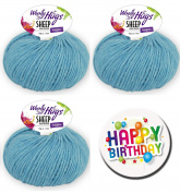 Woolly Hugs – All Series and all colours available Series 1 Sheep Uni - Series 2 Sheep Colour as 50 g Ball with 50% Merino Extra Fine or Series 3 Bandy Colour as 100 g Ball 100% Cotton WOOLLY HUGS SHEEP UNI FarbNr. 65 + 1 x BUTTON