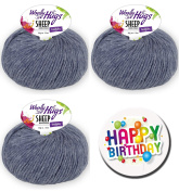 Woolly Hugs – All Series and all colours available Series 1 Sheep Uni - Series 2 Sheep Colour as 50 g Ball with 50% Merino Extra Fine or Series 3 Bandy Colour as 100 g Ball 100% Cotton WOOLLY HUGS SHEEP UNI FarbNr. 55 + 1 x BUTTON