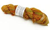 100g Recycled Sari Silk Ribbon Yarn, Jewellery Making Trim - Yellow Mix