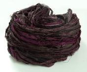 100g Recycled Sari Silk Ribbon Yarn, Jewellery Making Trim - Deep Plum Mix
